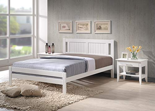 Humza Amani Glory White Wooden Slatted Bed available in 3FT Single, 4FT Small Double or 4FT6 Double (4FT6 Double)