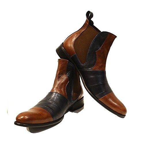 PeppeShoes Modello Ritorto - EU 42 - US 9 - UK 8-27 cm - Handgemachtes Italienisch Bunte Herrenschuhe Lederschuhe Herren Braun Stiefeletten Chelsea Stiefel - Rindsleder Weiches Leder - Schlüpfen