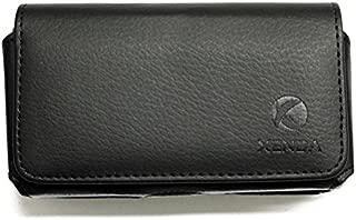 Black Leather Phone Case Compatible with LG Saber / LG200, Optimus Hub, GW300, Exalt LTE, 501C, 500G, 200 - Nokia Lumia 800 620, E72 E6 E5, Asha 210 - Pantech Link P7040p - PCD Razzle TXT8030