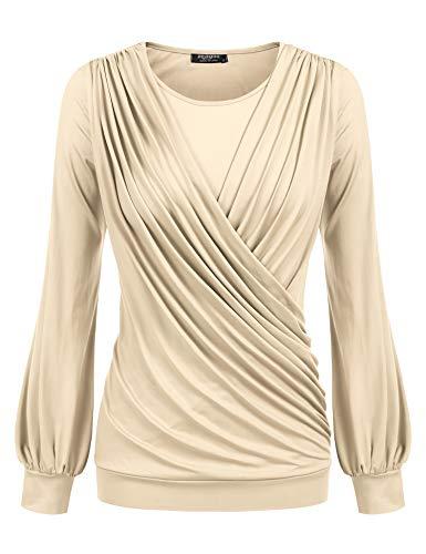 Zeagoo Womens Casual Long Sleeve Round Neck Front Pleated Shirts Tops Blouse,Khaki,Medium