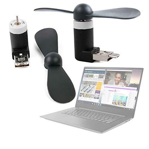 DURAGADGET Mini Ventilador de Bolsillo Alimentado vía USB y Micro USB para Portátil Lenovo ideapad 330-15IKBR, Lenovo ideapad 530S-14IKB, Schneider SCL141CTP Ultrabook, Winnovo V146 Notebook