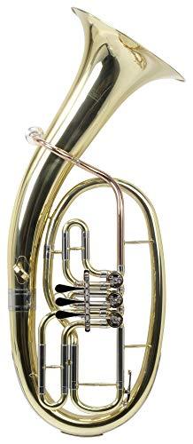 Classic Cantabile Brass TH-33 Tenorhorn - Bb-Stimmung - Korpus: Messing - Neusilber-Außenzüge Goldmessing-Mundrohr - 3 Drehventile - inkl. Koffer, Mundstück und Reinigungstuch