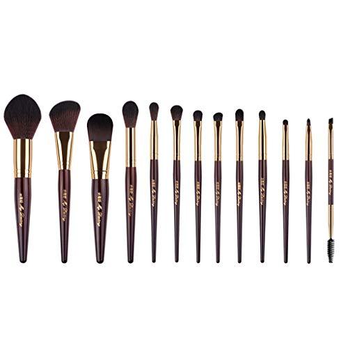 Hzd Set de pinceaux de maquillage de long pôle, un ensemble complet de 13 débutants pinceau blush brush pinceau fard à paupières (Couleur : Caramel color)