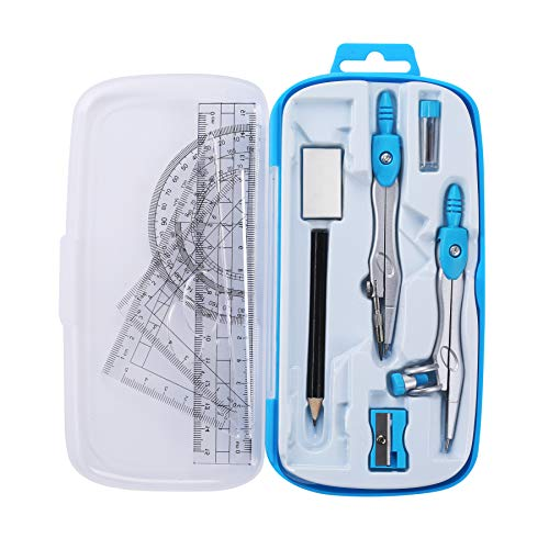 Unjoo Math Geometry Kit Sets 10 Piece Student Supplies with Shatterproof Storage Box,Includes Rulers,Protractor,Compass,Eraser,Pencil Sharpener,Lead Refills,Pencil,for Drafting and Drawings(Blue)