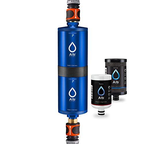 Alb Filter® FUSION Active+Nano Trinkwasserfilter gegen Schadstoffe und Keime | Mobil Gardena Anschluss-Set | Made in Germany - Blau