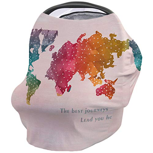 Breastfeeding Nursing Cover Multi Use for Baby Car Seat World Map The Best Journeys Lead Your Home Stretchy Breathable Scarf Shawl for Stroller High Chair/Shopping Cart Canopy