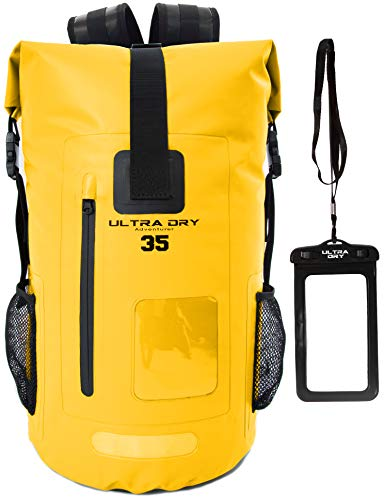 Premium 35L Waterproof Dry Bag Backpack, Sack with Phone Dry Bag, Perfect for Boating/Kayaking/Hiking/Canoeing/Fishing/Rafting/Swimming/Camping/Snowboarding (Yellow, 35 L)