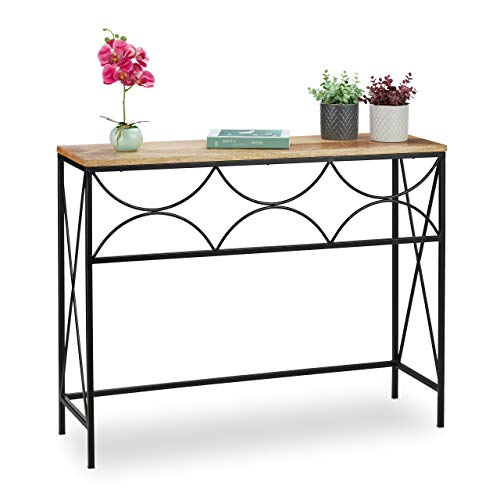 Relaxdays Mango Wood Console Table 77 x 101 x 31 cm Industrial Design Hallway & Living Room Storage Table Natural / Black