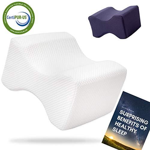 Medi Sleep New Knee Pillow- Comfort kussen met geheugen schuim- Orthopedische been kussen, uitlijning voor rugpijn en heup pijn verlichting-E- Boek en tweede cover. Foam is CertiPUR-US gecertificeerd