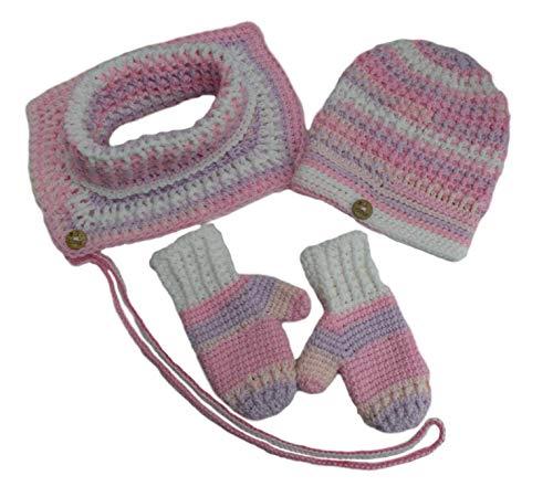 Set gehäkelt, Winter-Häkelmütze mit Loop und Handschuhen, Alter 2-3 Jahre