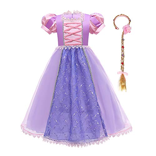 IDOPIP Disfraz de Princesa Rapunzel Niña Sofía Vestido Fiesta Carnaval Cosplay Halloween Costume para Chicas con Peluca 3-4 años