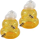 YOOHUA 2PCS Wasp Trap for Hornet Bees Yellow Jackets, Bee Catcher Non-Toxic, Reusable, Hanging Outdoor Wasp Deterrent Killer