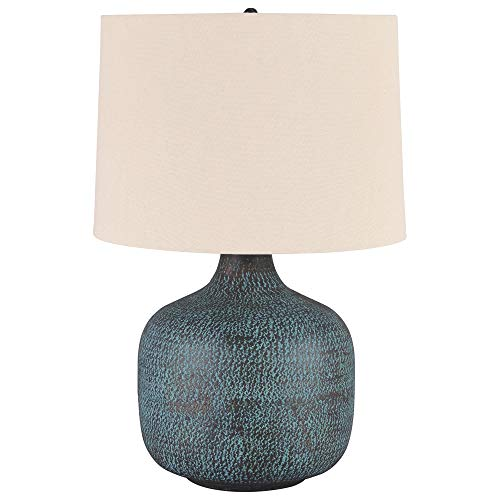 Signature Design by Ashley - Malthace Metal Table Lamp - Hammered Metal - Patina Blue