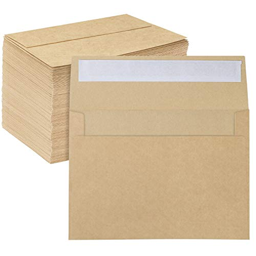 A7 Printable Brown Kraft Envelopes 5x7 150 Pack, Ohuhu A7 5-1/4 x 7-1/4 Inch, Perfect for Wedding, Chirstmas Cards, 5x7 Photos, Baby Shower, Birthday, Party, Invitations - Peel, Press & Self Seal