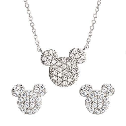 Disney Mickey Mouse Sterling Silver Cubic Zirconia Stud Earrings and Necklace Set, Official License
