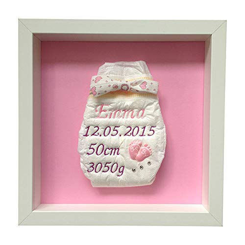 Bestickte Windel im Rahmen - Mädchen Babyfüßchen Rosa, Geschenke zur Geburt, Überraschung...