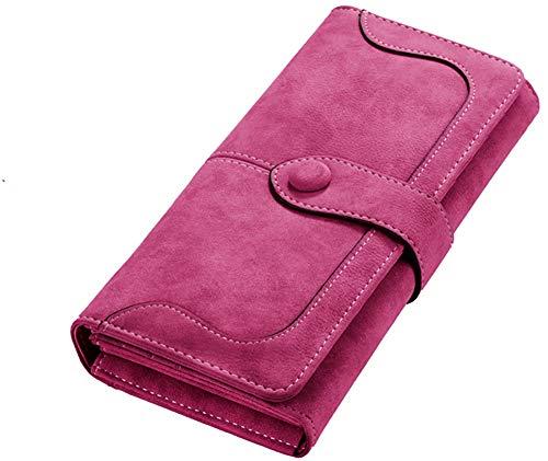 Minetom Damen Leder Geldbeutel Portemonnaie mit Reißverschluss Lange Kartenhalter Geldbörse Lady Clutch Handtasche (Rose)