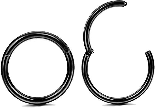 Milacolato 1Pair 20G Stainless Steel Hinged Clicker Segment Black Tone Nose Ring Hoops Helix Daith Cartilage Tragus Sleeper Earrings Body Piercing 3/8' 10mm