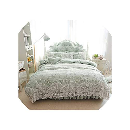 Prinses dames stijl fleece winter beddengoed set volledige queen king maat 4/7 stks paars groen beige kant bed rok dekbedovertrek set