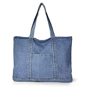 Light Weight Soft Denim Tote Unisex Shopper Shoulder Handbag