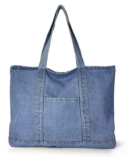Hoxis Light Weight Soft Denim Tote Unisex Shopper Shoulder Handbag (Blue)