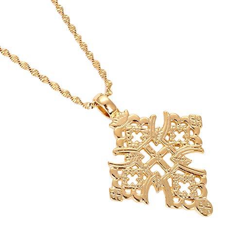 BR Gold Jewelry Äthiopien Kreuz Halskette für Damen und Herren, goldfarben, äthiopischer Schmuck, afrikanisches Ethnisches Geschenk