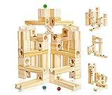 Muy bonita pista de Canicas de madera, 60 piezas.