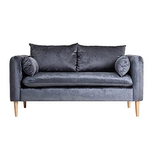 Lastdeco Sofa 2 Plazas Terciopelo y Madera Salon Comedor. Asiento Acolchado. 4 Cojines. Diseño Exclusivo. Color Azul Petroleo. Modelo Aleria. 147 x 77 x 79 cm