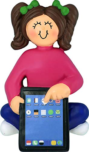 Ornament Central Female/Child Brunette with Tablet Ornament, Christmas, tag
