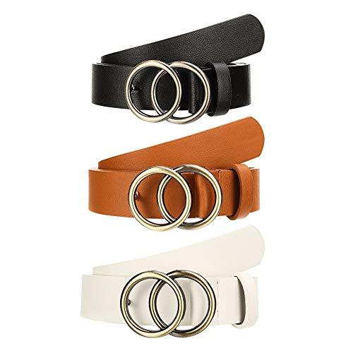 Bolonbi 3 Pezzi Moda Donne Cintura in Pelle, Larghezza 1.10′Cintura in Ecopelle con Doppio Anello Fibbia Oro per Jeans Vestiti Pantaloni Jeans
