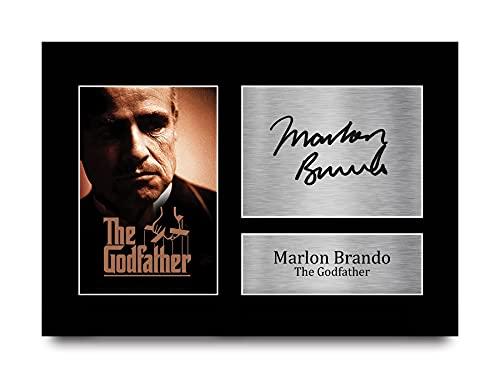 HWC Trading Marlon Brando A4 Sin Marco Regalo De Visualización De Fotos De Impresión De Imagen Impresa Autógrafo Firmado por The Godfather Los Aficionados Al Cine