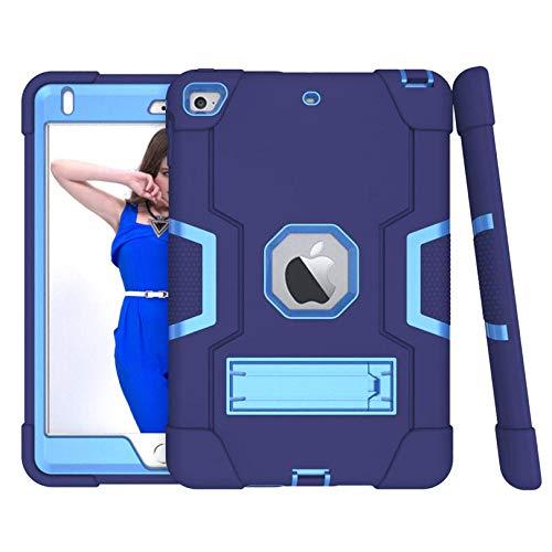Estuche de la Armadura de Soporte Flexible Duro de Silicone TPU + PC de Servicio Pesado para iPad Mini 5 4 Drop Shock Prueba-Azul Marino