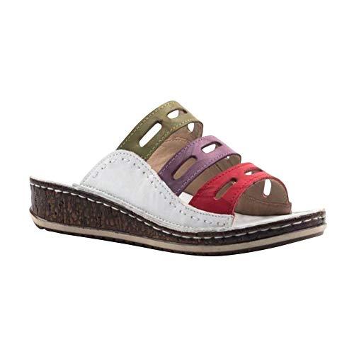 Damenschuhe Sandalen Sandaletten Pantoletten Hausschuhe Retro Plateau Sandalen mit Dreifarbige Nähte Plattform Sommersandaletten Peep Toe Strand Schuhe Weiß 35 EU