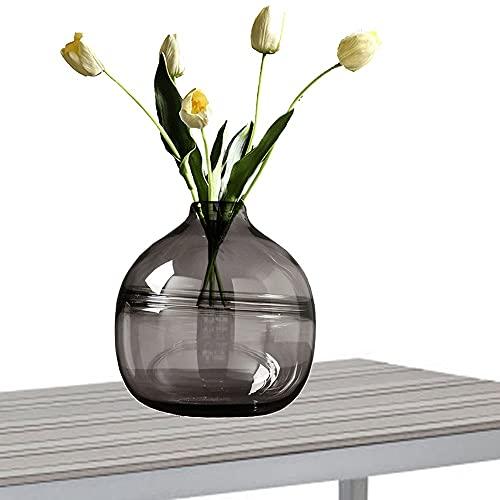 LXLAMP Jarrones Decorativos de Suelo, florero Cristal Jarron de Suelo Jarrones de Flores, Elegante Decoración para la Decoración del Escritorio - Altura 20 cm (Color : Gray)