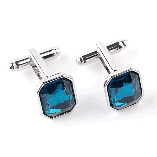 YWSZJ Fashion Men's Blue Crystal Business Gemelos Classic Wedding Charm Jewelry Trendy French Shirts Casual Publicanos Botón
