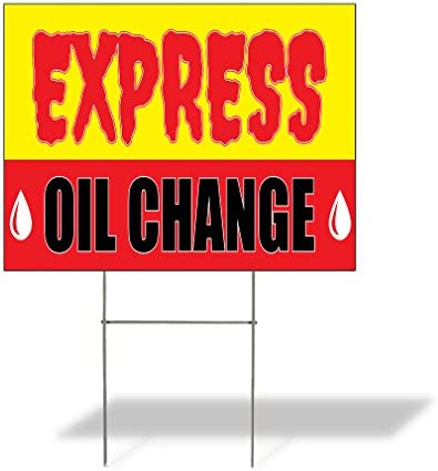 Weatherproof Yard Sign Express Oil Change Advertising Printing Yellow Lawn Garden Auto Repairs product image