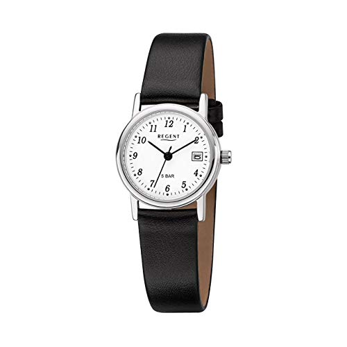 Regent Damen-Armbanduhr Elegant Analog Leder-Armband schwarz Quarz-Uhr Ziffernblatt weiß URF827