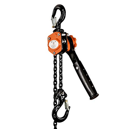 SuperHandy Chain Hoist Come Along 1/2 TON 1100 LBS Capacity 5FT Lift 2 Heavy Duty Hooks Commercial Grade Steel for Lifting Pulling Construction Building Garages Warehouse Automotive Machinery
