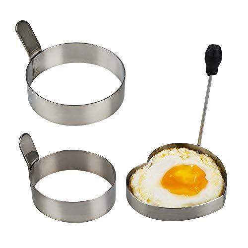 YuCool Eierring, 8,9 cm & 7,6 cm Edelstahl, r&e Pfannkuchenringe, Omelett, antihaftbeschichtet, Küchenwerkzeug mit 1 Herzform, 1 Packung Ölbürste & 1 Packung Ofenhandschuh, insgesamt 5 Stück