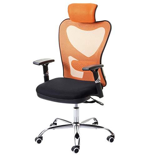 Mendler Bürostuhl HWC-F13, Schreibtischstuhl Drehstuhl, Sliding-Funktion 150kg belastbar Stoff/Textil ~ schwarz/orange