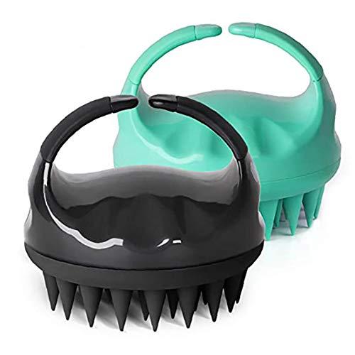 Masajeador Cepillo de Pelo champú de Silicona Masaje del Cuero cabelludo para la Ducha Cuidado de Mascotas Mujer Hombre Negro Verde 2 Paquete de Salud