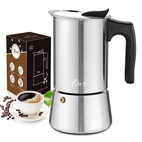 LIBWYS 7-i-1 spishäll-kaffebryggare set 300 ml/6 koppar matkvalitet rostfritt stål moka gryta espressomaskin med keramisk glasunderlägg påse extra silikontätningssked borstinstruktion