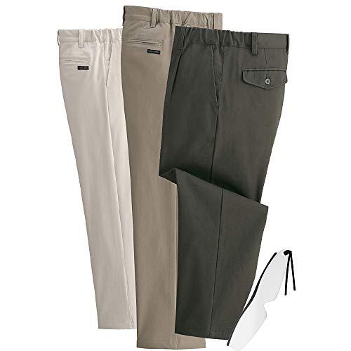 伸びるらくらくストレッチ チノパンツ 3色組( スラックス 裾上げ済 のびのびズボン 楽なズボン メンズ ストレッチパンツ)しおり型ルーペ付き (股下72 LL)