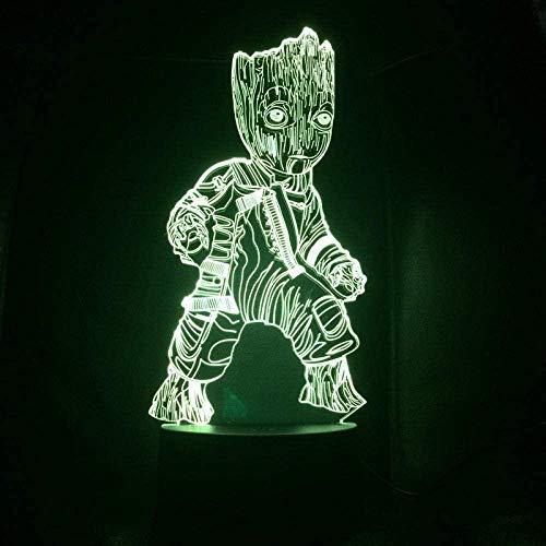 LSDAMN Lámpara de ilusión 3D Luz de noche Led Marvel Los Vengadores Superhéroe Árbol Hombre Groot Figura USB Lámpara de mesa multicolor Dormitorio Neón