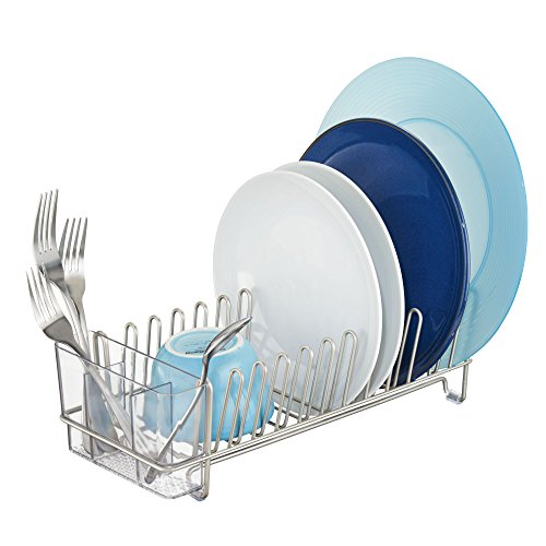 iDesign Classico Metal Dish Drainer Rack with Silverware Drainer for Drying Glasses, Utensils, Bowls, Plates, Mugs, 12.5' x 5.5' x 4', Satin Silver