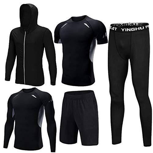 コンプレッションウェア 5点セット トレーニングウェア 上下 メンズ パーカー 長袖 半袖 ショートパンツ レギンス 吸汗 速乾 通気性 伸縮性 筋トレ エクササイズ (M)