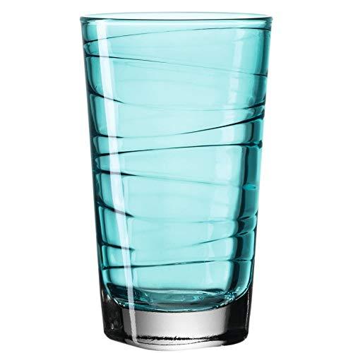 Leonardo Vario Trink-Gläser, 6er Set, spülmaschinengeeignete Wasser-Gläser, bunte Trink-Becher mit Muster, Saftgläser-Set, Türkis, 280 ml, 018238
