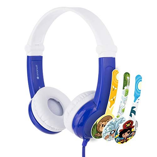 ONANOFF BuddyPhones Connect, Volume-Limiting Kids Headphones, Foldable and Durable, Built-in Audio Sharing Cable with in-Line Mic, Best for Kindle, iPad, iPhone and Android Devices, Blue