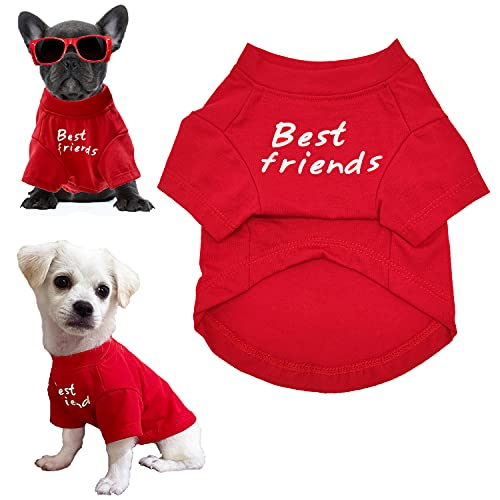CAISANG Dog T-Shirts French Bulldog Shirt, Basic Pet Clothes Tank Top Matching Jean Jacket Breathable Summer Puppy Vest Cute Boy Girl Costumes Cat Tee Apparel for Small Medium Dogs Outfits M