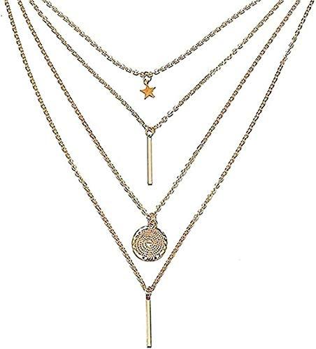 LDKAIMLLN Co.,ltd Collar Mujer Hombre Colgante Collar de Mariposa Collares Pendientes para Mujer Collar de múltiples Capas con Encanto de Luna Collar Bohemio Joyería de Cuello